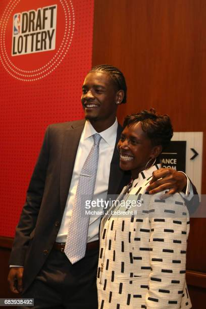 Prospect Josh Jackson smiles with a guest during the 2017 NBA Draft Lottery at the New York Hilton in New York New York NOTE TO USER User expressly...