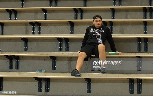 Prospect Rasmus Andersson watches the NHL Combine after completing his tests at HarborCenter on June 6 2015 in Buffalo New York