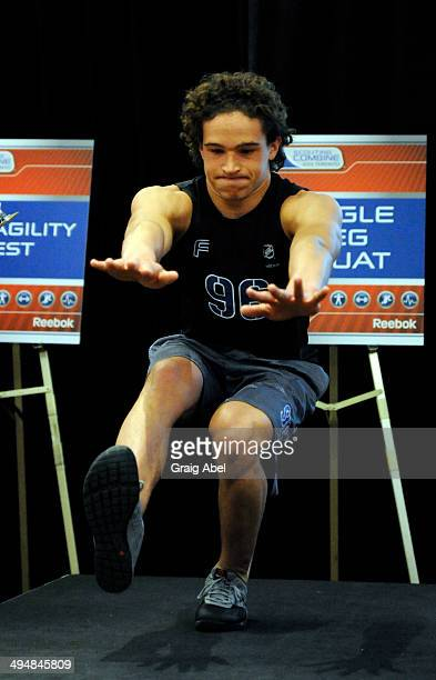 Prospect Sonny Milano takes part in testing at the NHL Scouting Combine May 31 2014 at the International Centre in Toronto Ontario Canada