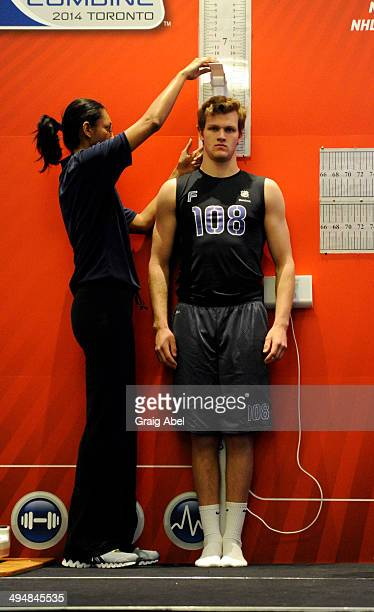 Prospect Tyler Bird takes part in testing at the NHL Scouting Combine May 31 2014 at the International Centre in Toronto Ontario Canada