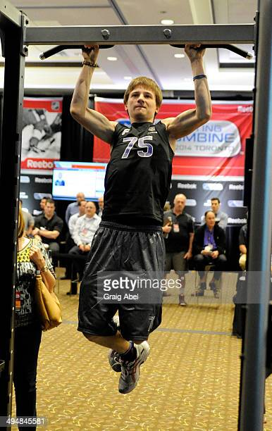 Prospect Vladimir Tkachev takes part in testing at the NHL Scouting Combine May 31 2014 at the International Centre in Toronto Ontario Canada