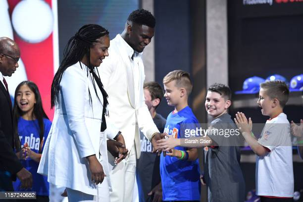 Prospect Zion Williamson is introduced before the start of the 2019 NBA Draft at the Barclays Center on June 20, 2019 in the Brooklyn borough of New...