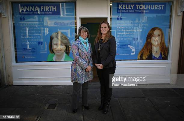 Prospective Conservative party candidates Anna Firth and Kelly Tolhurst stand outside campaign headquarters on October 20 2014 in Rochester England...