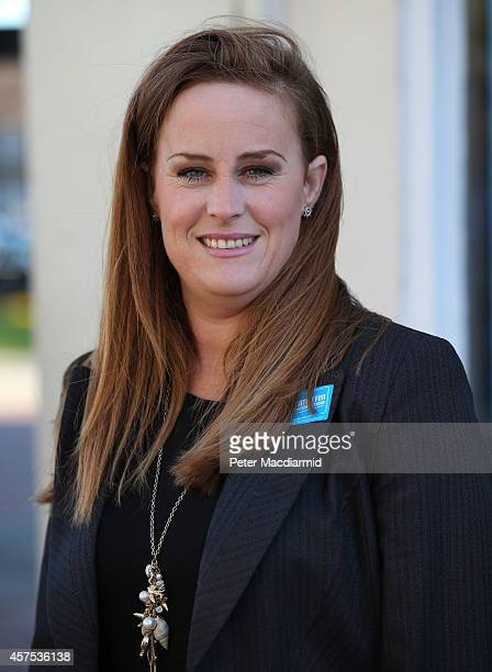 Prospective Conservative party candidates Kelly Tolhurst stands outside campaign headquarters on October 20 2014 in Rochester England An open postal...