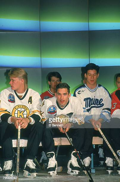 Prospective draftees at the NHL Entry Draft in le Colisee de Quebec Quebec City Quebec Canada June 26 1993 Visible are front row from left Canadian...