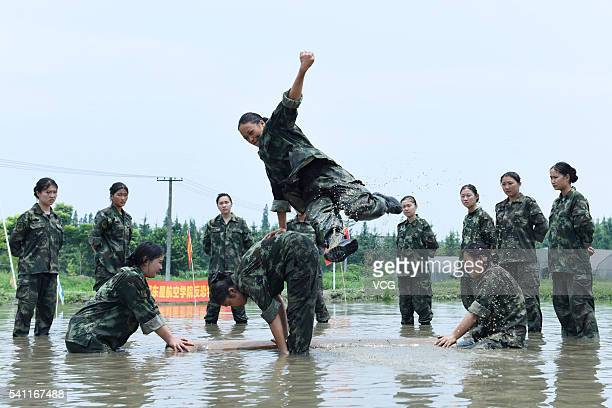 Prospective flight attendants of Chengdu East Star Airlines College take military training on June 14 2016 in Chengdu Sichuan Province of China 20...