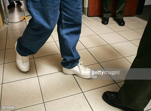 Prospective jurors at the Michael Jackson child molestation trial file out of the courtroom at the Santa Barbara County Courthouse 01 February 2005...