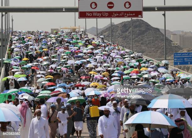 Prospective pilgrims arrive to stone Jamarat pillars that symbolize the devil as a part of the annual Islamic Hajj pilgrimage during the first day of...