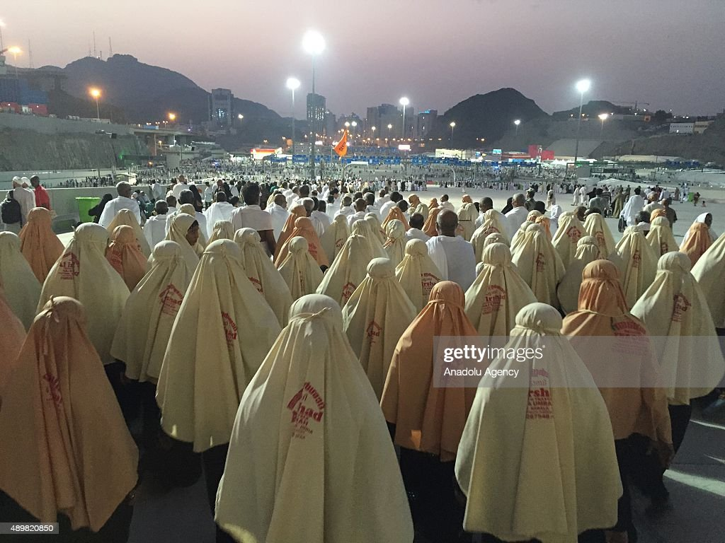 Prospective pilgrims walk to stone the devil as part of the annual Islamic Hajj pilgrimage at Jamarat during the first day of Eid Al Adha in Mecca, Saudi Arabia on September 24, 2015.At least 753 Muslim Hajj pilgrims were killed and at least another 450 injured in a stampede that took place in the town of Mina near the city of Mecca, located roughly five kilometers east of Mecca, as pilgrims performed a ritual in which they threw stones at a structure representing the devil.