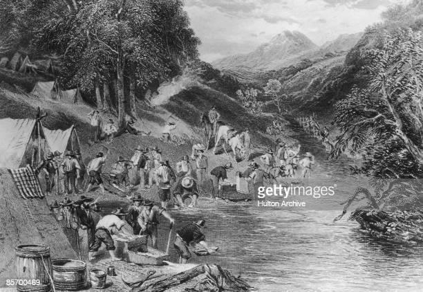 Prospectors panning for gold, California, circa 1850.