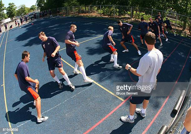 Prospects of the New York Islanders take part in tryouts during a mini camp at Iceworks July 15 2008 in Syosset New York
