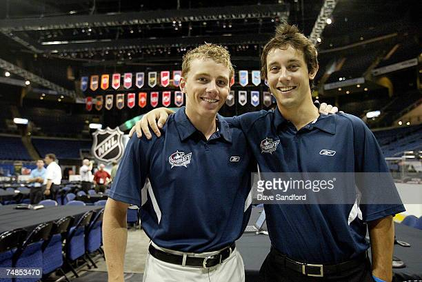 NHL prospects Sam Gagner and Patrick Kane both of the London Knights pose during the Top Prospects Media Luncheon at the Nationwide Arena June 21...