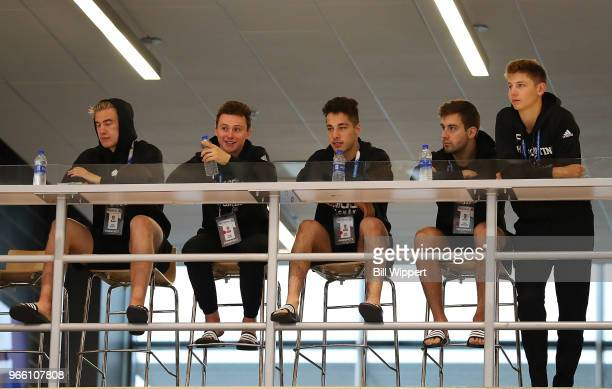 Prospects watch as others test during the NHL Scouting Combine on June 2 2018 at HarborCenter in Buffalo New York