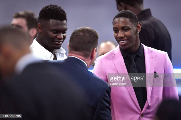 Prospects Zion Williamson and RJ Barrett looks on before the start of the 2019 NBA Draft at the Barclays Center on June 20, 2019 in the Brooklyn...