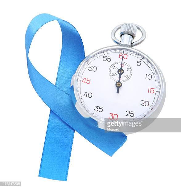 prostate cancer awareness. - blue cancer ribbon stock photos and pictures