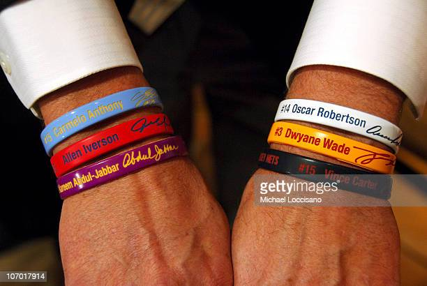 NBA Prostate Cancer Research Suppoort Wristbands during Kareem AbdulJabbar Makes an Appears at the NBA Store in Support of Prostate Cancer Research...
