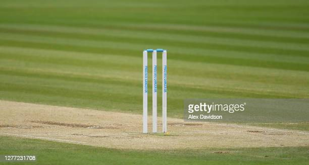 Prostate Cancer UK stumps are seen during Day 5 of the Bob Willis Trophy Final between Somerset and Essex at Lord's Cricket Ground on September 27,...