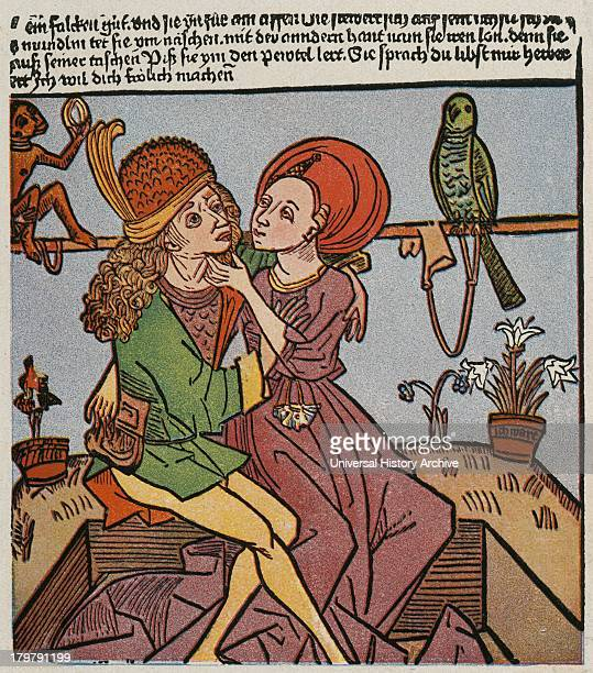 Prostitue with a callow youth Woodcut c1500