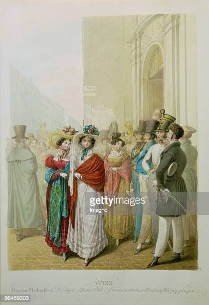 Prostitutes and idlers in front of StMichael's Church Vienna around 1826 Coloured engraving by Opitz J 365 x 25 cm Inv141376 [Bei den Michaelern...