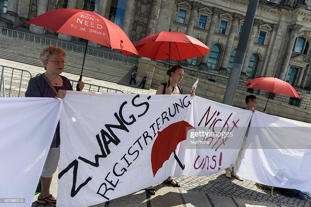 Prostitutes demonstrating against a new prostitution law in front of the Bundesrat parliament in Berlin, Germany, 2 June 2016.