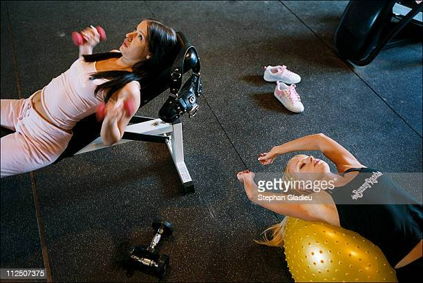 Prostitutes enouraged to keep fit and stay in shape by going to the gym at the Moonlite Bunny Ranch a legal brothel owned by Dennis Hof in Lyon...