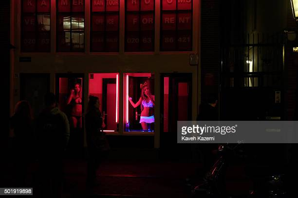 AMSTERDAM NETHERLANDS OCTOBER 30 2015 Prostitutes in underwears await for customers inside the glass window of their cabins in the red light district...