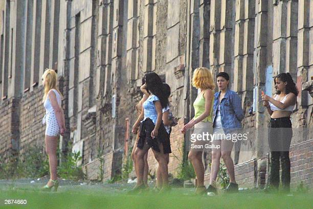 Prostitutes some of them very young attempt to lure passing motorists May 18 2002 in Dubi Czech Republic near the border to Germany The United...