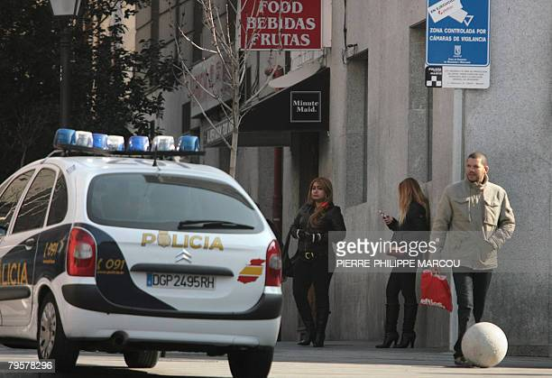 Prostitutes wait for business in the triball area in the centre of Madrid 05 February 2008 The area baptised triball which is the diminutive of...