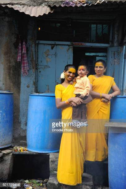 Prostitutes with child in Kamathipura, Bombay Mumbai, Maharashtra, India
