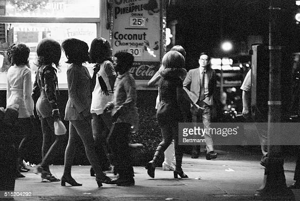 Prostitutes working along the side streets of Broadway and Times Square in New York