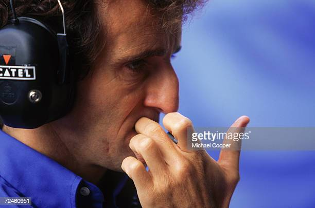 ProstMugen Honda team boss Alain Prost looking thoughful at the SpaFrancorchamps circuit in Belgium during the Grand Prix 24th August 1997 Both his...