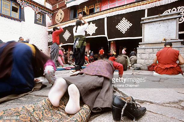 Prostration is a Tibetan form of prayer. Jokahng temple is the holiest site for Tibetan pilgrims to come and pray. A place full of buzz....