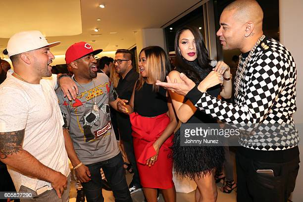 DJ Prostyle DJ Clue Angela Yee Gia Casey and DJ Envy celebrate DJ Envy's birthday at Ferrari Corporate Showroom on September 14 2016 in New York City