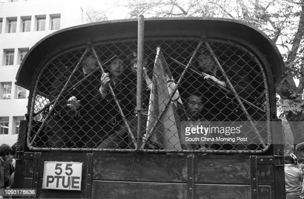ProTaiwan supporters in a police vehicle after protesting outside the American ConsulateGeneral 20DEC78