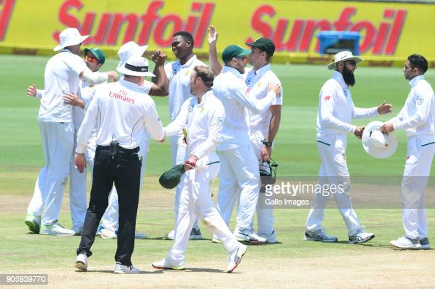 Proteas celebrate there win over India during day 5 of the 2nd Sunfoil Test match between South Africa and India at SuperSport Park on January 17...