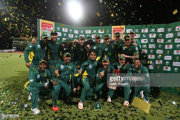 Proteas celebrates during the Momentum ODI Series 5th ODI match between South Africa and Australia at PPC Newlands on October 12 2016 in Cape Town...