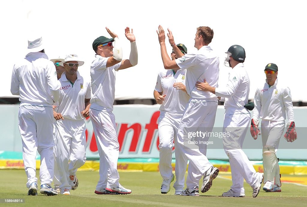 Proteas players celebrate the wicket of Dean Brownlie during day 3 of the 1st Test between South Africa and New Zealand at Sahara Park Newlands on January 04, 2013 in Cape Town, South Africa.