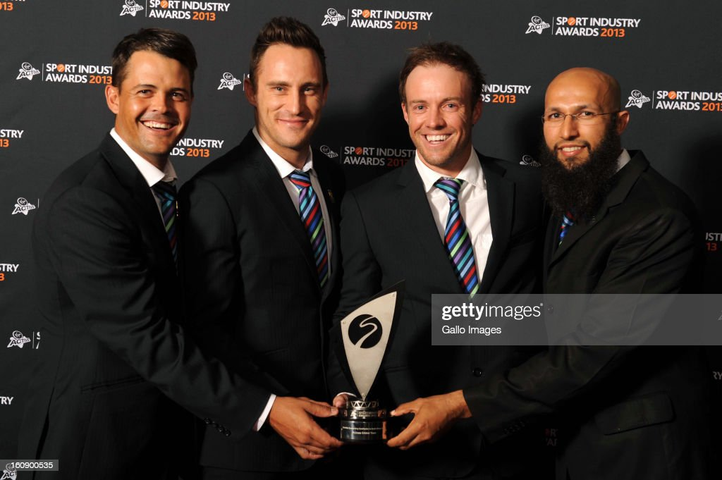 Proteas players Jaques Rudolph, Faf du Plessis, AB de Villiers, and Hashim Amla receive the Deloitte Outstanding Contribution to South African Sport Award during the Virgin Active Sport Industry Awards 2013 held at Emperors Palace on February 07, 2013 in Johannesburg, South Africa.