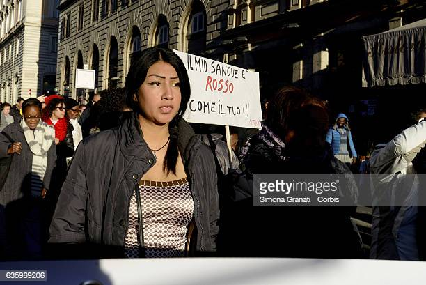 'Protect the people not the borders' demonstration for a worthy reception of migrants and refugees in Romeon December 17 2016 in Rome Italy