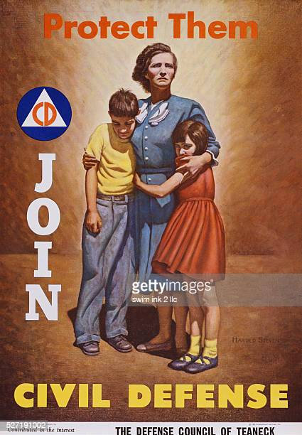 Protect Them, Join Civil Defense Poster by Harold Stevenson