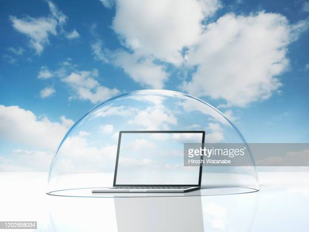 pc protected by security dome against the sky - 丸屋根 ストックフォトと画像