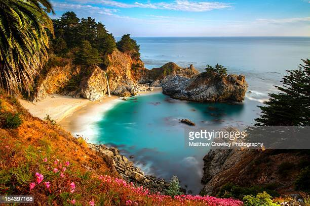 protected cove and mcway falls - mcway falls stock pictures, royalty-free photos & images