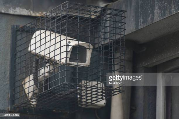 A protected security camera seen in Dublin's City Center On Friday April 13 in Dublin Ireland
