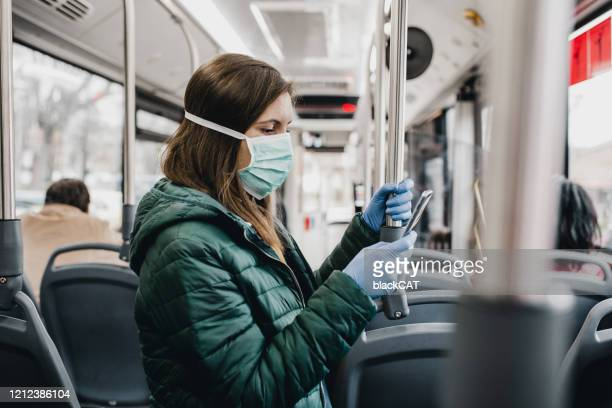 protection from corona virus - public transport stock pictures, royalty-free photos & images