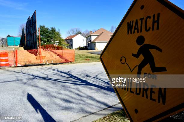 Protective boundaries divide a residential area and the Mariner East 2 pipeline construction site in West Chester Pennsylvania on March 13 2019 In...