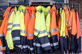 Protective clothing on rack