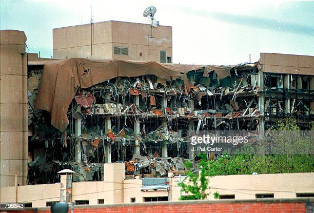 Protective covering drapes over the Alfred P Murrah Federal Building in Oklahoma City April 19 1995 where a terrorist bomb killed 168 people On the...