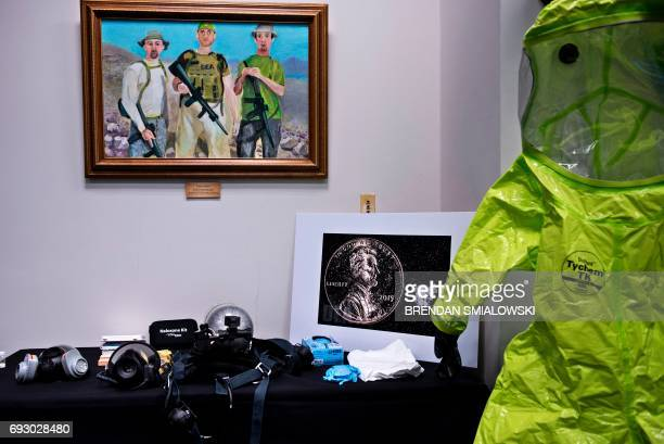 Protective equipment is seen before a press conference about fentanyl at the headquarters of the Drug Enforcement Agency June 6 2017 in Arlington...