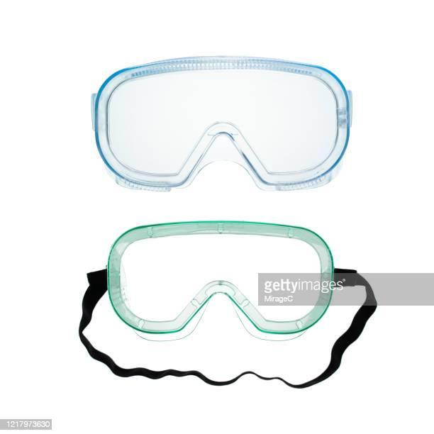 protective eyewear on white - schutzbrille stock-fotos und bilder