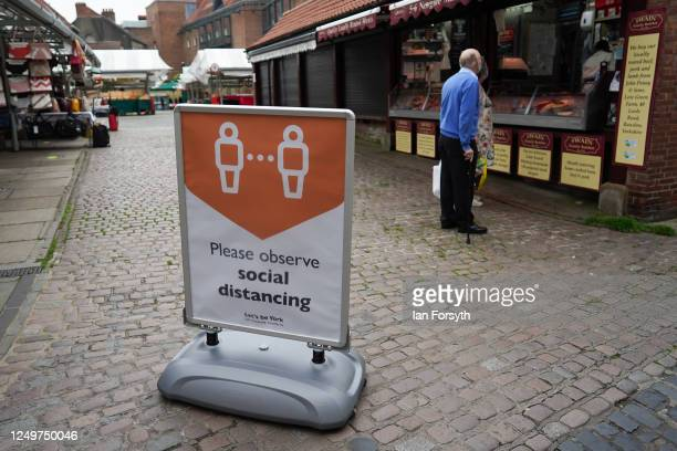 Protective measures are put in place to protect shoppers in York as non-essential stores prepare to reopen on June 15, 2020 in York, United Kingdom....